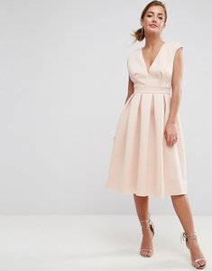 Read more about Asos scuba deep plunge prom midi dress - nude