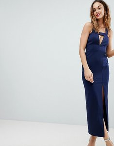 Read more about Asos design deep plunge bodycon maxi dress with thigh split and cut out - navy