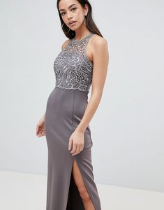 Read more about Ax paris lace upper maxi dress with side slit - pewter
