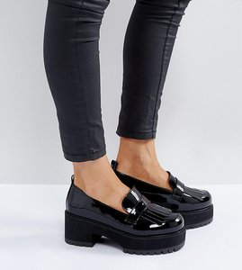 Read more about Asos opaque wide fit chunky heeled shoes - black patent