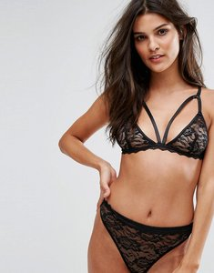 Read more about Prettylittlething lace triangle bra - black