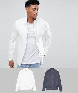 Read more about Asos design muscle jersey track jacket 2 pack charcoal off white - charcoal off white