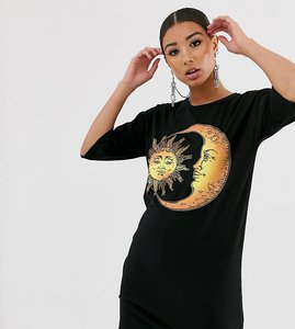 Read more about Rokoko relaxed t-shirt dress with sun and moon graphic