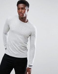 Read more about French connection crew neck knitted jumper with contrast cuff - grey