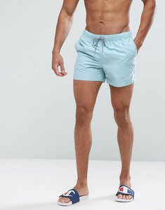 Read more about Asos swim shorts in blue with stripe drawcords short length - blue