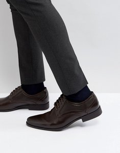 Read more about Asos lace up shoe in brown faux leather with embossed detail - brown