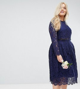 Read more about Asos curve wedding lace long sleeve midi prom dress - navy