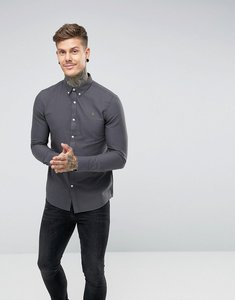 Read more about Farah brewer slim fit oxford shirt in charcoal - grey charcoal 074