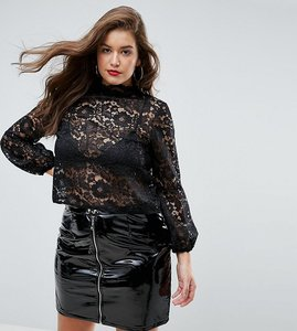 Read more about John zack plus cutwork lace top with blouson sleeve - black