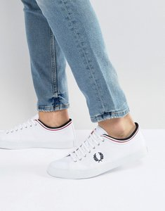 Read more about Fred perry kendrick tipped cuff canvas plimsolls white - white