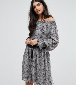 Read more about Y a s tall phyto off shoulder allover printed skater dress with fluted sleeve - multi