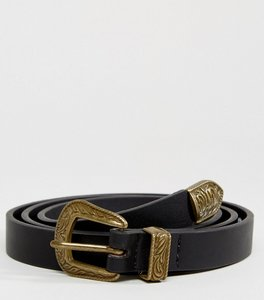Read more about Asos skinny western belt in black faux leather - black