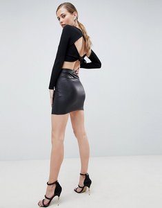 Read more about Asos design leather look mini skirt - black