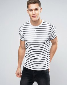 Read more about French connection yarn dye stripe henley t-shirt - white