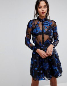 Read more about Y a s floral embroidered sheer blouse - blue