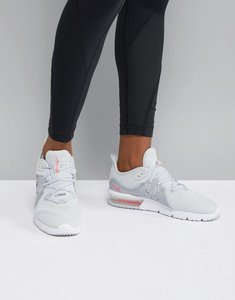Read more about Nike running air max sequent trainers in grey and pink - pure platinum racer