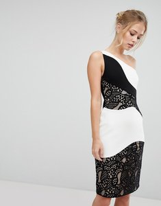 Read more about Aijek one shoulder midi pencil dress with monochrome lace detail