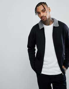 Read more about Asos knitted harrington jacket with fluffy collar in grey - grey