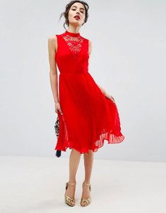 Read more about Asos sleeveless lace insert midi dress - red