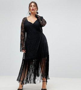 Read more about Asos curve lace deep plunge fringe wrap midi dress - black