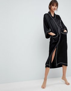 Read more about Asos white 100 silk dressing gown - black