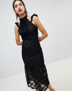 Read more about Lost ink lace midi dress in bodycon with frill placket - black