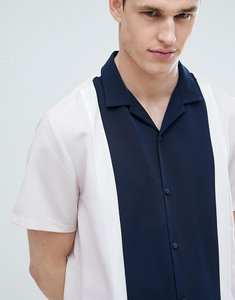 Read more about Asos design regular fit cut and sew shirt with revere collar - pink blu