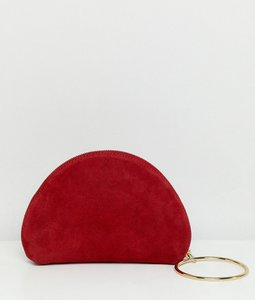 2d24757469fb7 Read more about Asos design suede half moon clutch with wristlet ring detail  - red