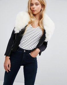 Read more about Barney s original s faux shearling coat with deep faux fur collar - black cream