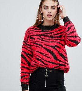 Read more about Bershka zebra print jumper in zebra red