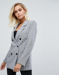 Read more about Fashion union double breasted blazer - grey check