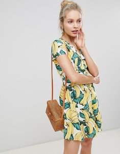 Read more about Glamorous button down tea dress in banana print - banana print