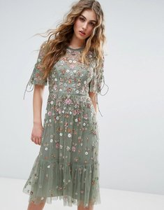 Read more about Needle and thread floweret embellished midi dress - sage