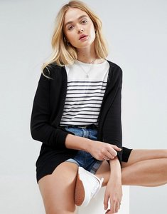 Read more about Asos design cardigan in fine knit with rib detail - black