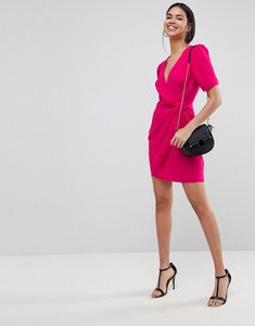 Read more about Asos design mini wrap dress with belt - pink
