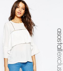 Read more about Asos tall blouse with frill trim detail - black