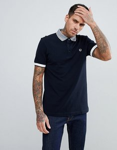 Read more about Fred perry striped tipped collar pique polo in navy - 608