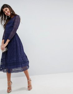 Read more about Asos premium lace skater midi dress with long sleeves - navy