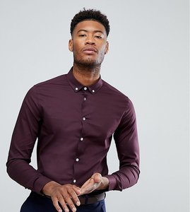 Read more about Asos tall skinny shirt in burgundy with button down collar - burgundy