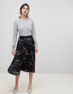 Read more about Liquorish printed pleated midi skirt - black