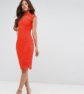 Read more about Paper dolls tall high neck crochet lace pencil dress - warm orange