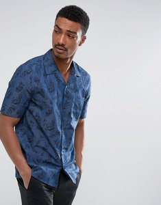 Read more about French connection revere collar bowling shirt - blue
