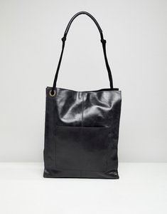 243e7bda46 Read more about Asos design leather vintage shopper with front pocket -  black