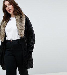 Read more about Brave soul plus hawk cardigan with detachable fur collar - black