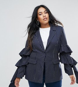 Read more about Unique 21 hero plus pinstripe blazer with ruffle sleeves co-ord - navy stripe