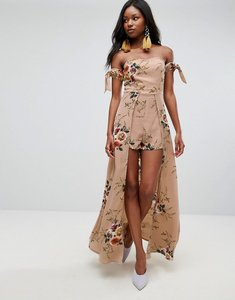 Read more about Parisian off shoulder floral maxi dress with shorts - sand