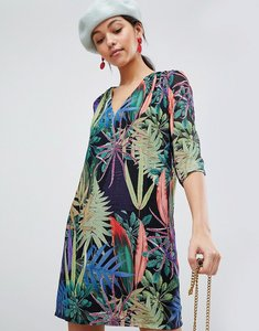 Read more about Traffic people tropical v neck shift dress - black