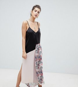 Read more about Reclaimed vintage satin cami dress with floral overlay - multi