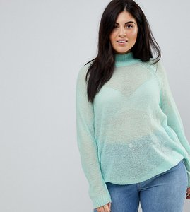 Read more about Asos curve jumper in sheer knit with funnel neck - pale blue