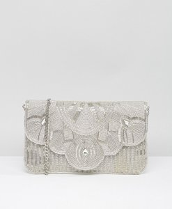 Read more about Dune ekelly silver beaded clutch bag - silver